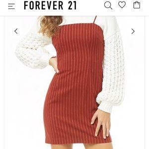 Red pinstriped mini dress